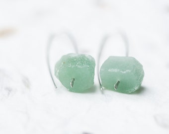 Raw Mint Green Aventurine Modern Hook Earrings Argentuim Sterling Silver Handmade Summer Minimalist Jewelry minimal chic