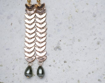 Long Dangle Gold Chain Earrings Khaki Drop Beads Boho Glam gold jewelry
