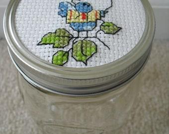 Mason Jar-Counted Cross Stitch Bird Design