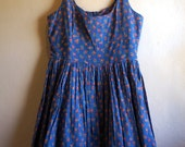 Blue Floral Flowers Fit & Flare Party Cotton Dress Size S