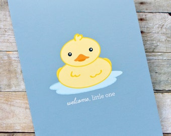Welcome Little One Rubber Ducky Baby Card