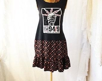 X-Small 94.9 Radio Dress/Its all about the music dress/Radio san diego/Babydoll Dress/Upcycled Clothing/Skate dress/rocker Dress/Eurotrash