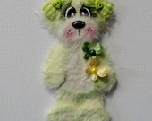 Pale green tear bear with butterflies paper piecing for scrapbooking