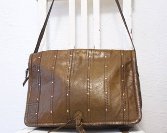 80s large messenger bag. laptop bag. studded leather bag. slouch shoulder bag by Enrico Coveri