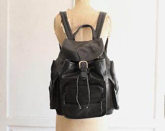 vintage black leather backpack laptop bag