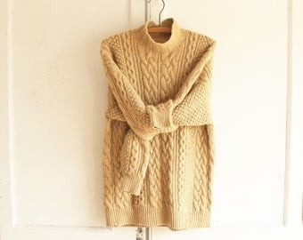 vintage chunky fisherman sweater cashmere 90s