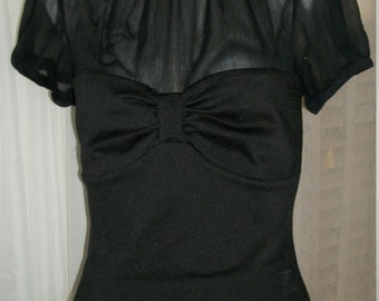 Vintage Goth Victorian Style Sheer Mesh and Knit Sweetheart Bodice Blouse High Neck Size Small Stunning