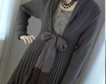 TREASURY Lacey 1970s Style Crochet Knit Sweater Coat Dress Size Med 8-10-12 Exec Cond 1930s 1940s Bow Re-Design One of a Kind Gorgeous
