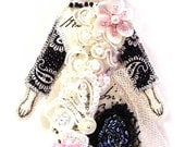 Small Flat Flower Lady Doll Ornament Handmade Embellished Textile Art Doll Fabric Dream Decoration