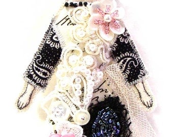 Small Flat Flower Lady Doll Ornament Handmade Embellished Textile Art Doll Fabric Dream Decoration