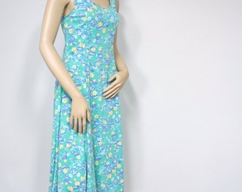 Vintage Summer Sundress Dress Water Lily Sleeveless Dress Floral Size XS