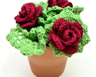 Rose Bush Scrubbie Set - PDF Crochet Pattern - Instant Download