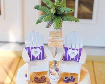 Beach Chairs/Sign Wedding Cake Topper Custom Artisan Beach Sign, Palm Tree, Small Adirondack Chairs, Flip Flops, And More