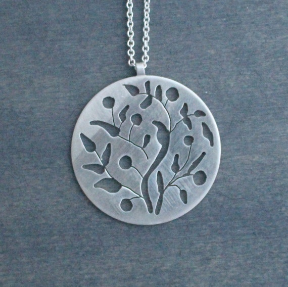 Moroccan Orange Tree Hand Cut Sterling Silver Circle Graphic Pendant with Silver Chain Contemporary Simple Ethnic Necklace Minimalist Rustic