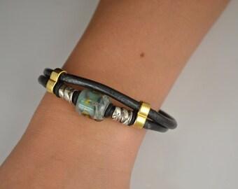 Bebe's Boro Bead Wrapped 4mm Black Italian Leather Women's Bracelet Toggle Silver Clasp - Large #31