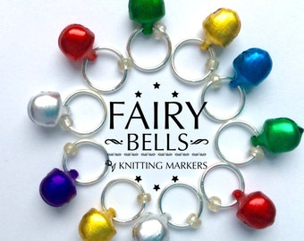 Knitting Stitch Markers  Xmas pack of 10 - FAIRY BELLS