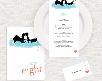fishing wedding reception stationery set, printable wedding, custom menu cards table numbers, place cards, place setting decor hooked on you