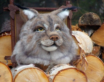 Needle Felted One of a kind Wool Faux Taxidermy Canadian Lynx or Bobcat Soft Sculpture by Bella McBride of McBride House