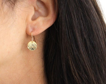 Small Gold Disc earrings - textured vermeil gold drop earrings