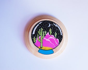 RESERVED for SANDY --- retro desert in a crystal ball / 80s round saguaro landscape