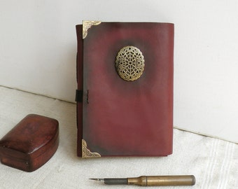 red leather journal, personalized notebook in burgundy red and gold with vintage style paper