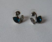 Swarovski Crystal Blue Swan Earrings Handmade: Rhinestone Cluster Dangle Earrings Free Shipping Jewelry Etsy- Hypoallergenic Post Earrings