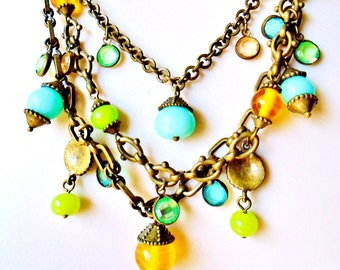 Vintage Victorian Glass 3 Tier Charm Necklace Serenity Blue Gold Lime Gree Brass / Bronze Linked Chains Art Nouveau Runway Statement