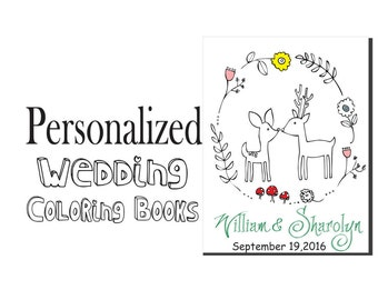 RUSTIC Wedding Coloring Book - Customize - Personalized Wedding Coloring book - Kids Wedding Favor - Print at Home - Rustic Wedding