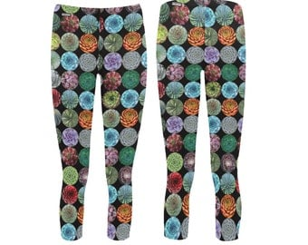 Graphic Succulent Capris Leggings - photographic succulent leggings - mid-calf length - printed leggings