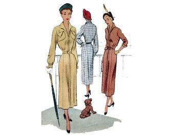 1950s Dress Pattern Long Sleeve Slim Day Dress Elegant Wing Collar and Cuffs 1940s McCall 7941 Plus Size Bust 40 Vintage Sewing Pattrn