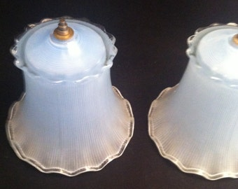 Vintage Blue Glass Lamp Shades, Bedroom Lampshades, Clip on Lampshades,Vintage Lampshades, Art Deco Blue Glass Lampshade, **USA ONLY**
