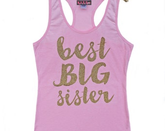 Best Big Sister Shirt, Girls Gold Sparkle Shirt, Big Sis Shirt, Little Sis Shirt, Little Sister Shirt, New Baby