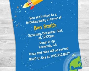 Rocketship - Birthday Party Invitation - Professionally printed *or* DIY printable PDF