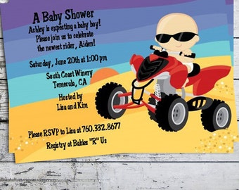 Baby On A Quad Baby Shower Invitation - Motorcross Baby Invite - Desert Baby Shower Invite - Professionally printed *or* DIY printable PDF