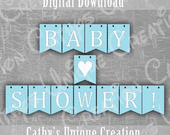 Boy Baby Shower Banner, Blue Polka Dots, Baby Boy Shower, Photo Prop, Printable, Wall Sign, Decoration, DIY Digital Download, A4, Letter