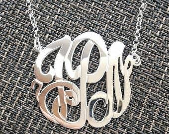 Interlocking Filigree Monogram Necklace, Sterling Silver Double Thick Monogram Necklace, Interlined Monogram Necklace, Vined Monogram