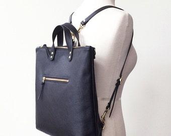 Black Leather Backpack, Convertible Backpack, Professional Work Bag, Women's Backpack, Laptop Backpack, Laptop Tote, Rucksack, Travel Bag