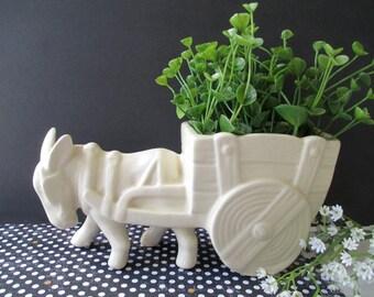 DONKEY And Cart Planter * U.S.A. Pottery