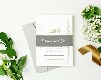 INSTANT DOWNLOAD | Printable Pocket Wedding Invitation | Romantic Script | Edit in Word or Pages | Print it Yourself | Mac & PC