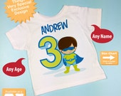 Boy's Personalized Superhero 3rd Birthday Tshirt - Birthday Boy Shirt - Superhero birthday party theme 01212016d