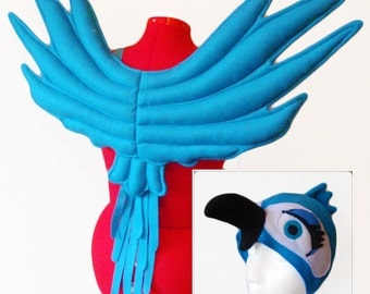 Parrot Costume Set. Wings & Girl Macaw Hat. Bird.