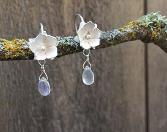 Sterling Silver Flower Earrings with Moonstone, Dainty Flower Earrings with Gemstone Bead