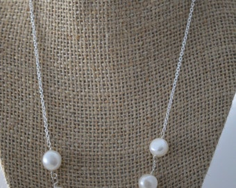 Simple white freshwater pearl Sterling silver necklace. Handmade, wire wrapped, Sterling silver. Bridal, wedding jewelry, simple, elegant.