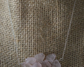 Rose Quartz non faceted briolette on Sterling silver chain necklace. Handmade, wire wrapped, jewelry. Natural gemstone, Rose Quartz, pink.