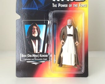 Star Wars Figure Obi-Wan Kenobi - Jedi Knight with Lightsaber from Star Wars A New Hope - 1990's Kenner Kids Toy in Original Packaging