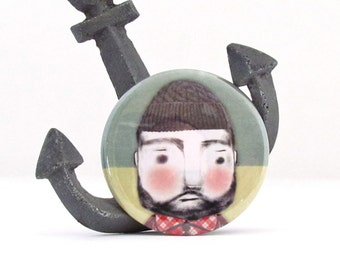 Lumberjack / Fisherman Magnet,Pin Badge or Pocket Mirror - Life Aquatic with Steve Zissou -Stocking Stuffer