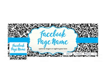 SALE 30% OFF Timeline Cover and Profile Picture - Facebook Timeline Cover - Damask Facebook Cover - Social Media Cover - Damask 4