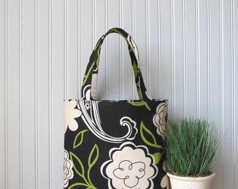 Tote Bag Floral, Handbag, Canvas Tote Bag, Purse, Black and Green Floral Bag, Book Bag, Summer Tote Bag, Bridesmaid Gifts, Gift Idea