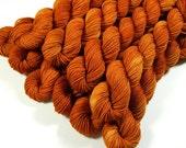 Mini Skeins, Hand Dyed Yarn, Sock Weight 4 Ply Superwash Merino Wool Yarn - Copper - Knitting Yarn, Sock Yarn, Orange Autumn Fingering