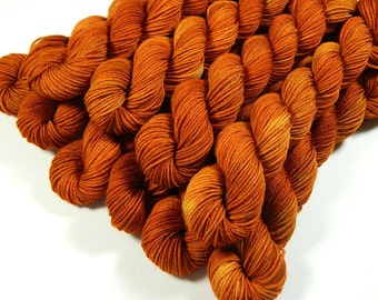 Mini Skeins - Hand Dyed Yarn - Sock Weight 4 Ply Superwash Merino Wool Yarn - Copper - Knitting Yarn, Sock Yarn, Orange Autumn Fingering
